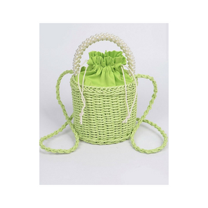 Straw Bag with Beaded Handle