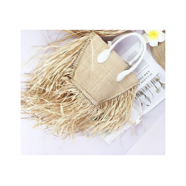 Boho Straw Fringe Bag