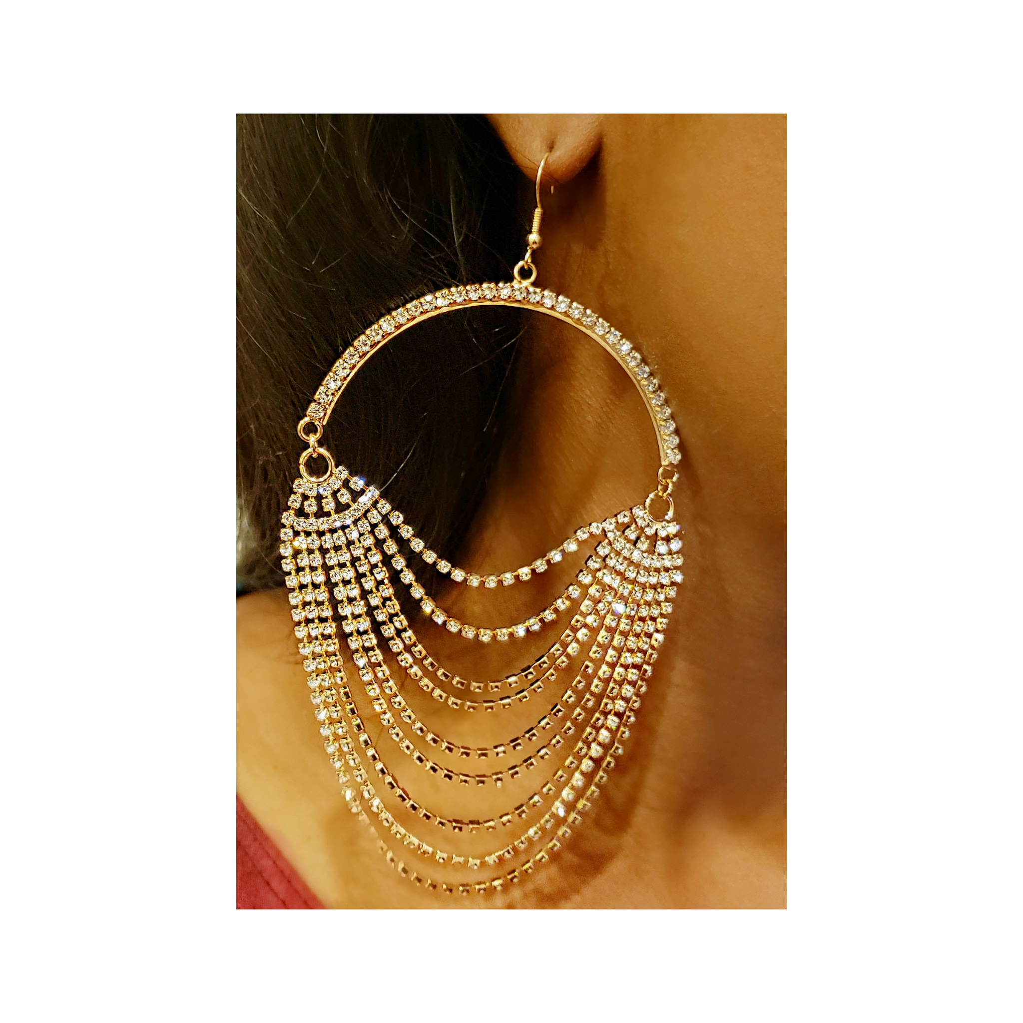 Draped Rhinestones Statement Earrings
