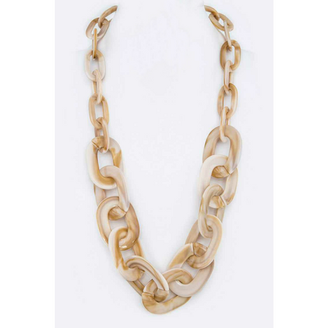 Resin Chain Link Necklace - Cream