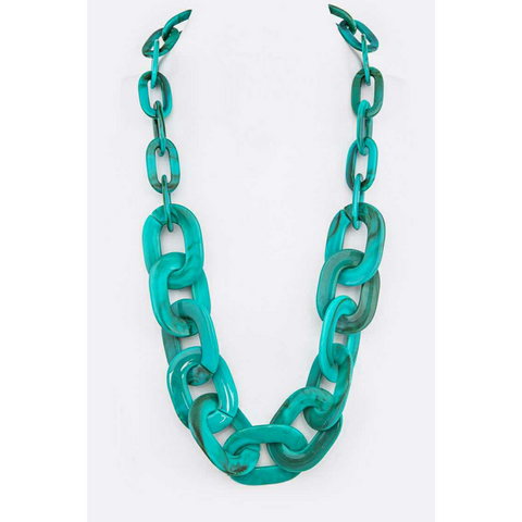 Resin Chain Link Necklace - Turquoise