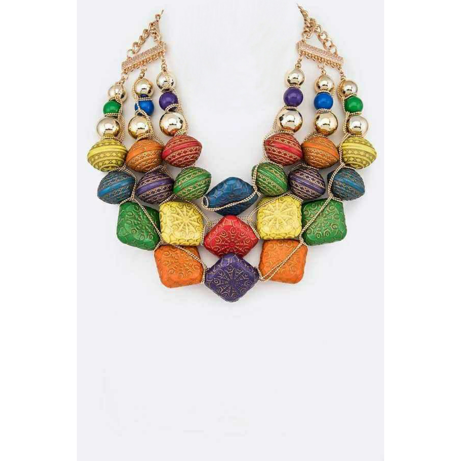 Multicolored Indian Flair Statement Necklace