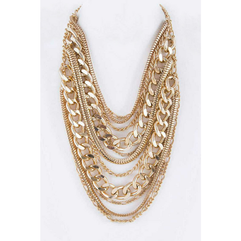 Chunky Chain Layered Statement Necklace