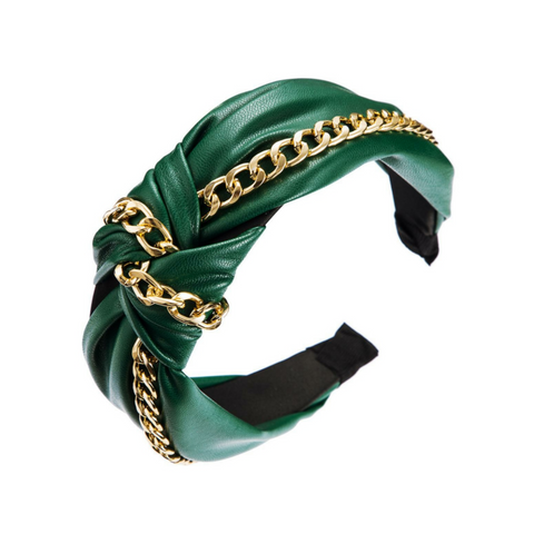 Knotted Headband with Chain - Hunter Green