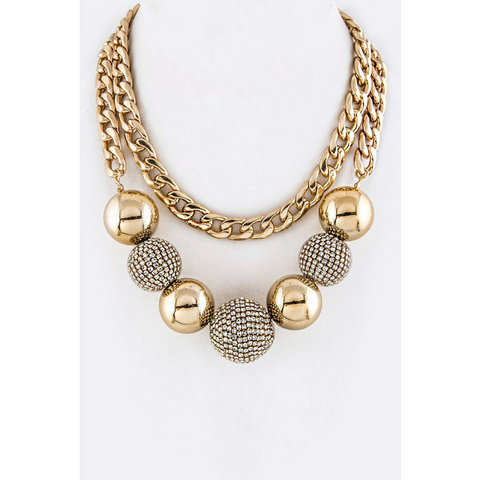Crystal & Metal Balls Statement Necklace