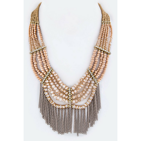 Mixed Beads Fringe Statement Necklace