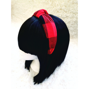 Plaid Headband - Red
