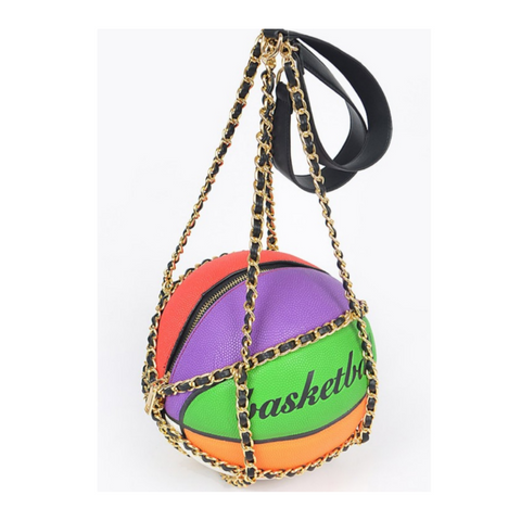 *PREORDER* Multicolored Basketball Purse with Chain Straps (Ships by 01/15)