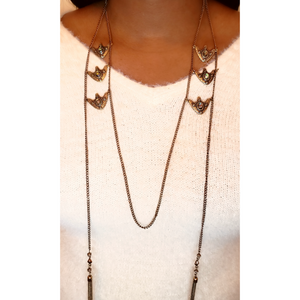 Double Tassel Tribal Statement Necklace