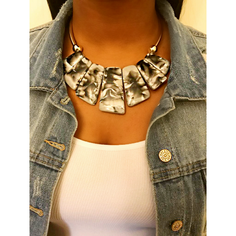 Resin Plates Statement Necklace