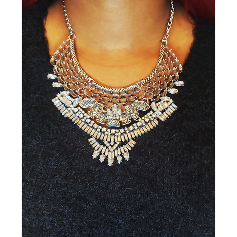 Layered Crystal Bib Statement Necklace