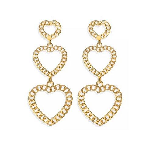 Heart Chain Drop Earrings