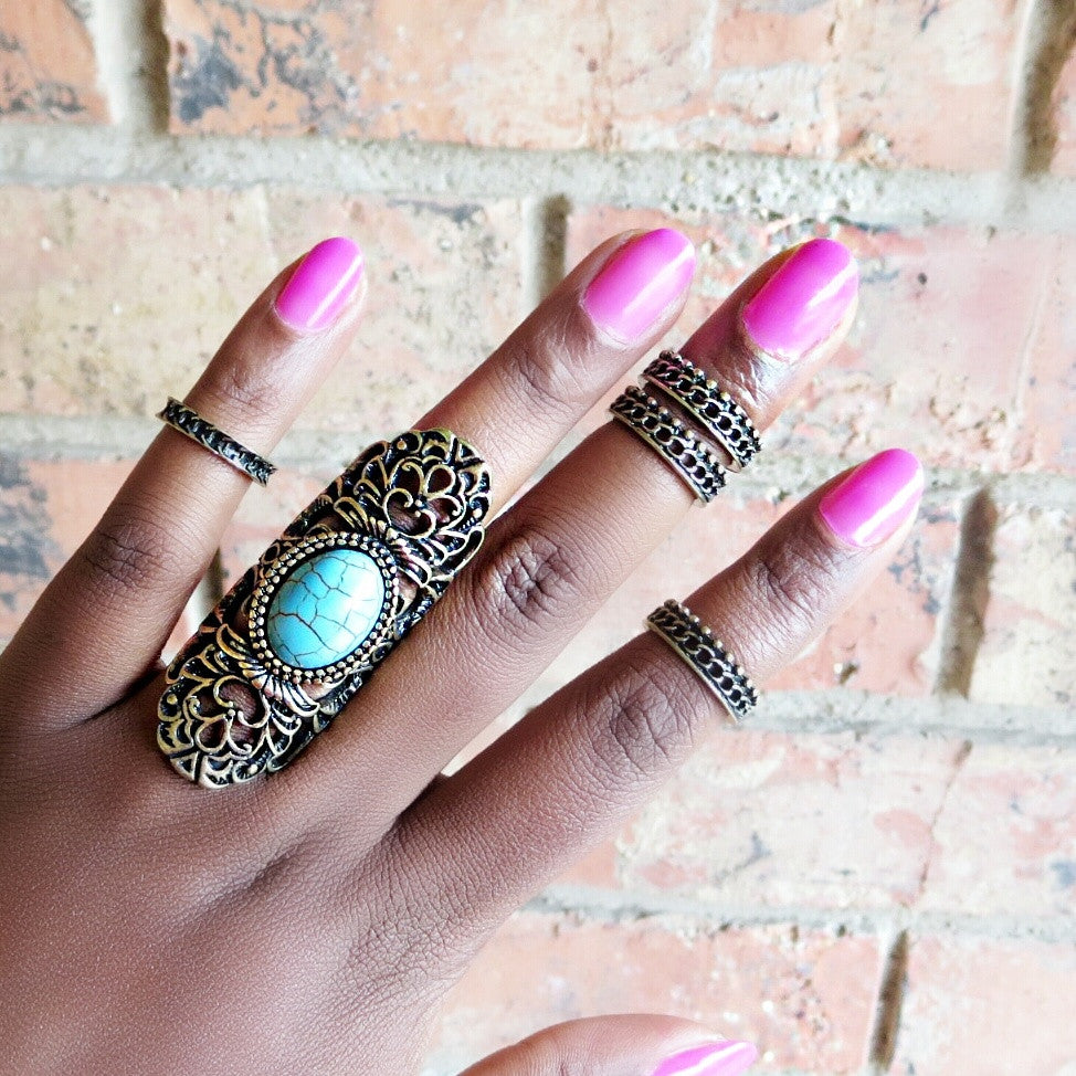 Turquoise Stone & Chain Ring Set
