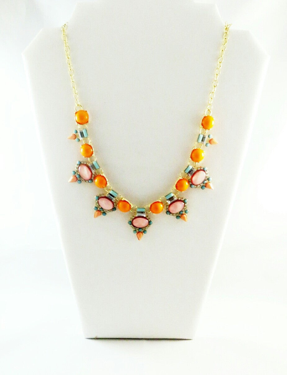 Coral & Mint Crystal Statement Necklace