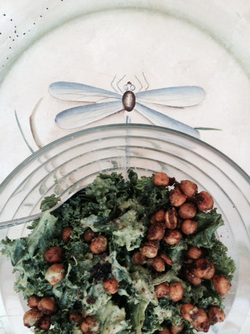 garlicky kale and moroccan chic pea salad