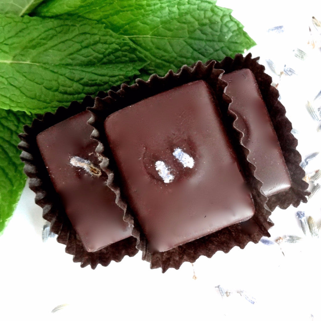 nicobella organic fair trade dark chocolate lavender mint truffle