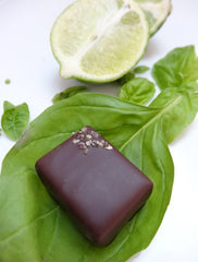 nicobella organic fair trade dark chocolate lime basil truffles