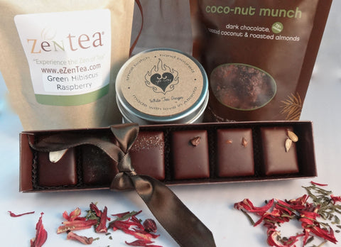 The Zen Set-Green Tea, Soy Candle, Chocolate Truffles and Chocolate Munch