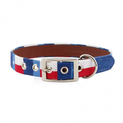Texas Flag Needlepoint Dog Collar