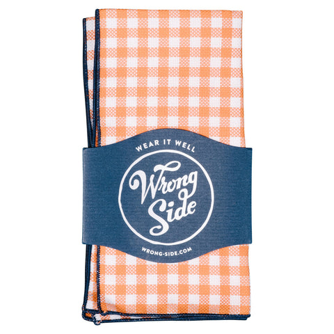 Wrong Side Pocket Square - Orange Gingham