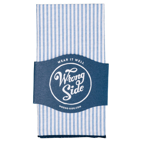 Wrong Side Pocket Square - Light Blue Seersucker