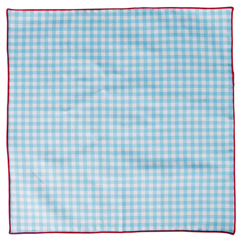 Wrong Side Pocket Square - Light Blue Gingham