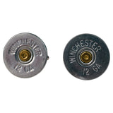 Nickel 12 Gauge Shotgun Shell Stud Set & Cufflinks