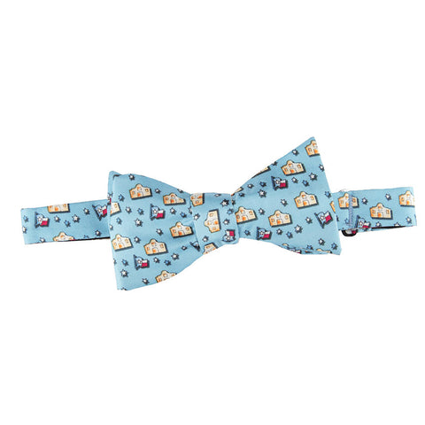 Blue Chuka Feather Bow Tie