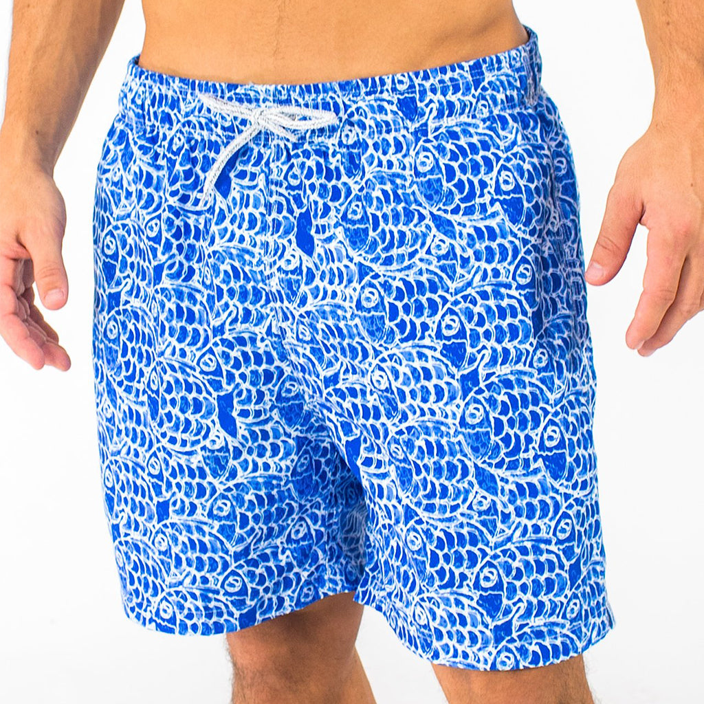 Abstract Fish Swim Trunks - Navy