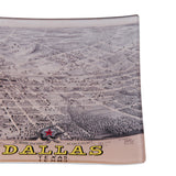 Dallas Vintage Map Decoupage Glass Tray
