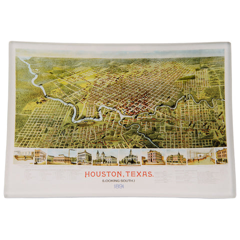 Texas Western Map Depot Decoupage Glass Tray