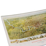 Houston Vintage Map Decoupage Glass Tray