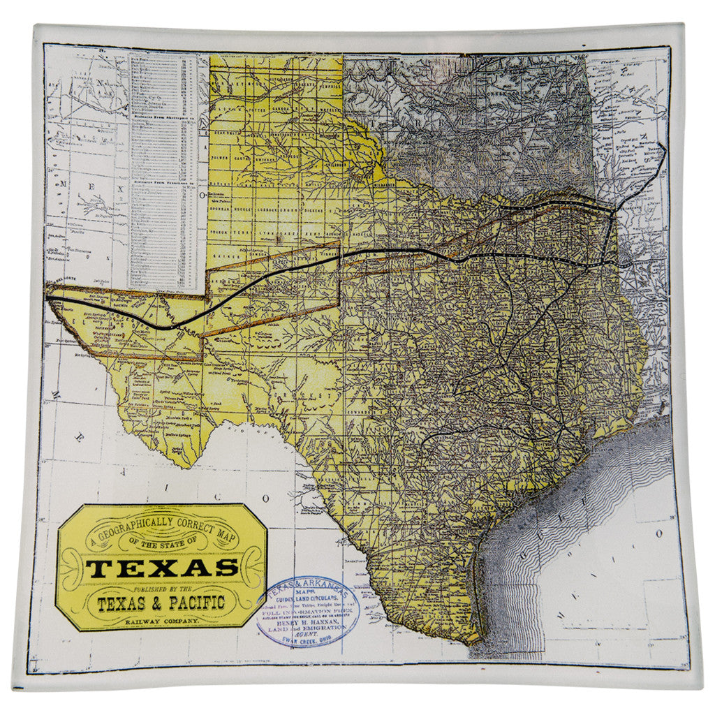 Texas Vintage State Map Decoupage Glass Tray