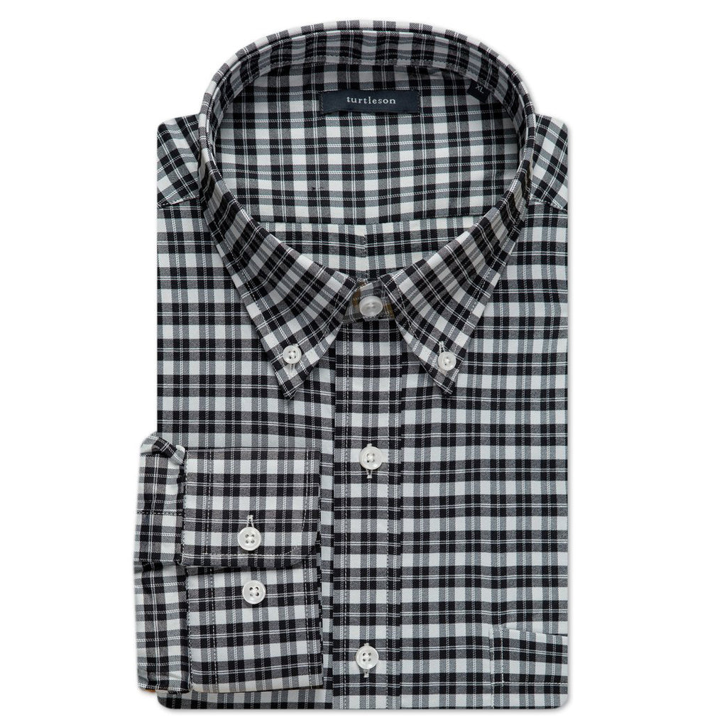 Bradlee Plaid Performance Buttondown Shirt - Black