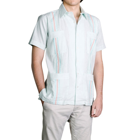 Charleston Hemingway Guayabera - Mint Green