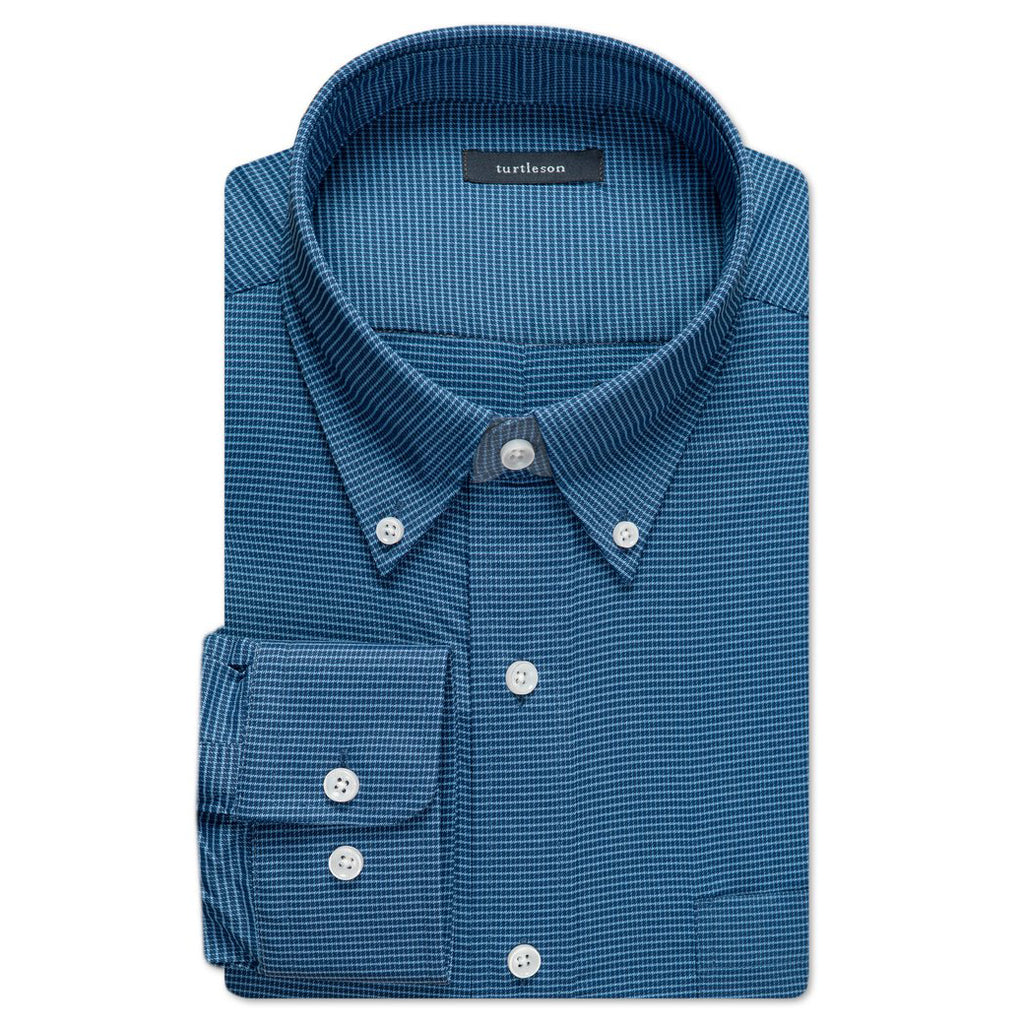 Conrad Windowpane Performance Buttondown Shirt - Navy