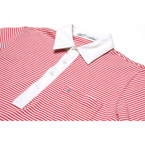 Nelson Stripe Stretch Players Shirt - Red