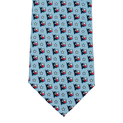 Waving Texas Flag Tie - Light Blue