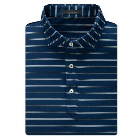Hank Stripe Performance Polo - Navy