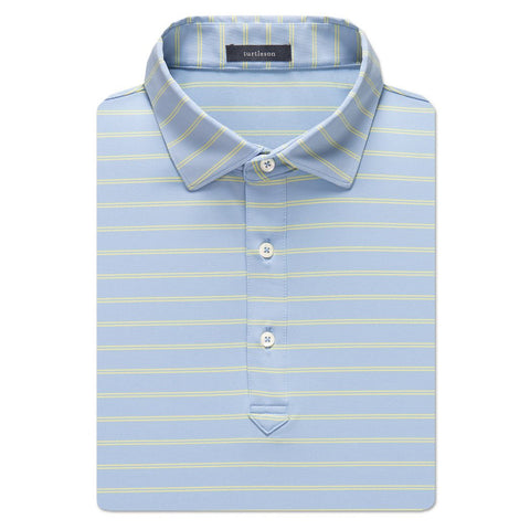 Hank Stripe Performance Polo - Sky