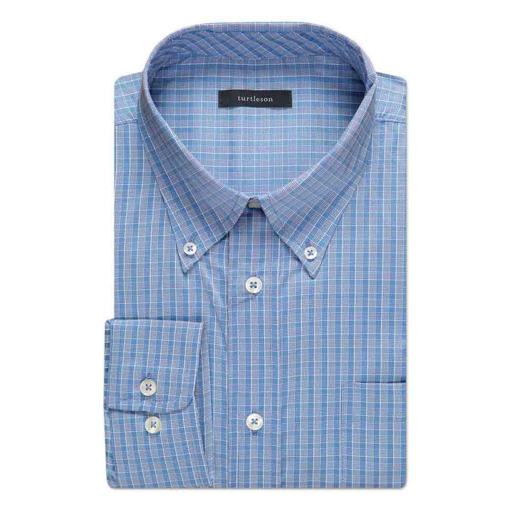 Lombard Windowpane Performance Sport Shirt Light Blue