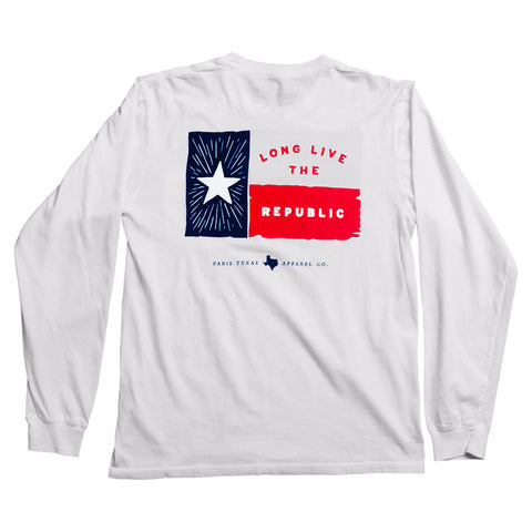 Lone Star Flag Long-Sleeve Pocket T-Shirt - White