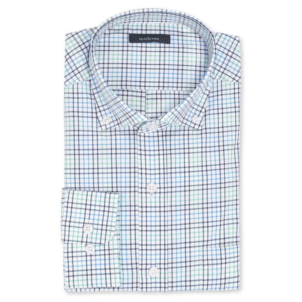 Macon Plaid Sport Shirt Maribu/Lagoon