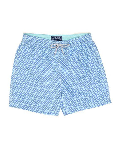 Diamond Pattern Swim Trunks - Aqua