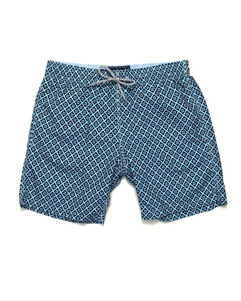 Diamond Pattern Swim Trunks - Blue