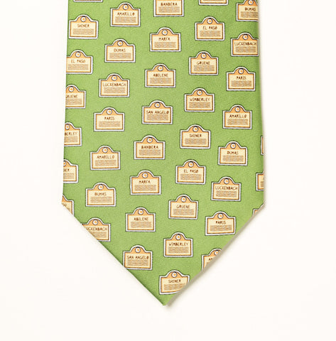 Texas Towns Tie - Green