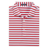 Powell Stripe Performance Polo Watermelon/Malibu