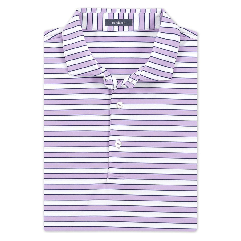 Powell Stripe Performance Polo Sky/Daisy