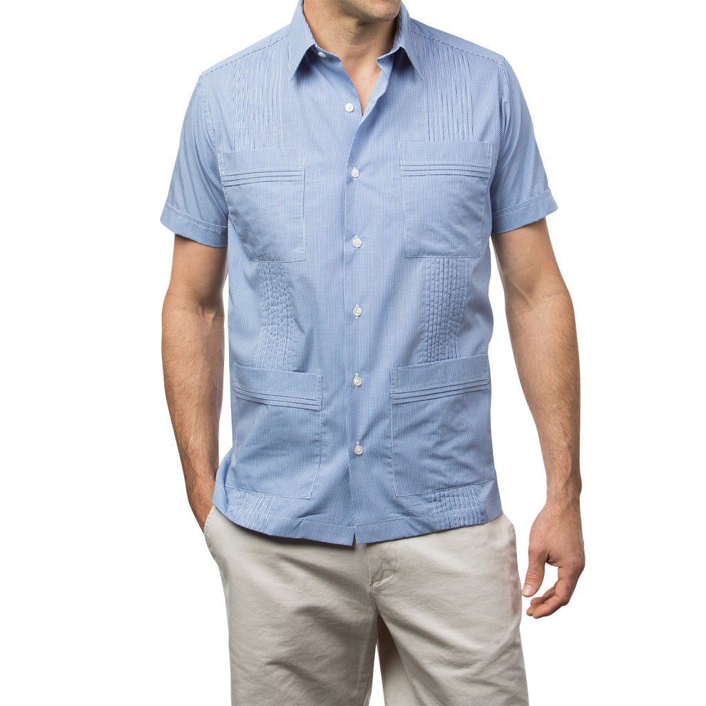 Dictator Guayabera, Mexican Shirt for Men Gingham, Blue