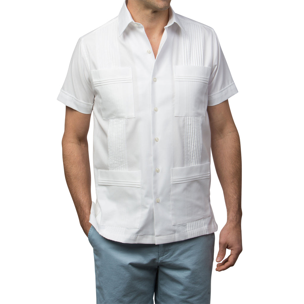 Dictator Guayabera, Mexican Shirt for Men - White Woven 2